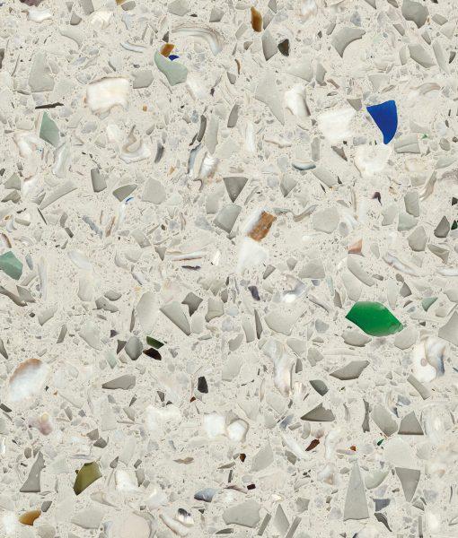 vetrazzo, umbo white, recycled glass