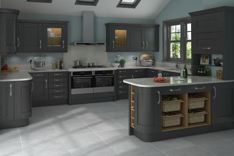 ShakerClifton Paint Grade Graphite Absolute Kitchen Granite - Graphite grey kitchen units